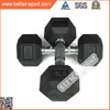 Black Hexagon Rubber Dumbbell